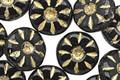 Czech Glass Jet Gilded Gold Daisy Coin 12mm