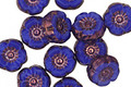 Czech Glass Bronzed Cobalt Hibiscus Coin 9mm