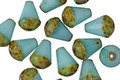 Czech Glass Turquoise w/Picasso Bottom Faceted Drop 8x6mm