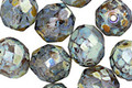 Czech Fire Polished Glass Black Diamond Picasso Round 10mm