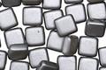 CzechMates Glass Pearl Coat Silver 2-Hole Tile 6mm