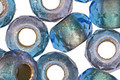Czech Glass Capri Blue Lined Large Hole Fire Polished Rondelle 8x12mm