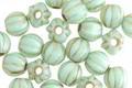 Czech Glass Mint Green w/ Gold Large Hole Melon Round 6mm