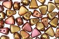 Czech Glass Matte Metallic Gold Copper Iris 2-Hole Nib-Bit 5x6mm