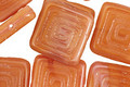 Czech Glass Peach Tribal Square 14mm