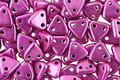 CzechMates Glass ColorTrends: Sueded Gold Fuchsia Red 2-Hole Triangle 6mm