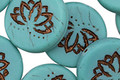 Czech Glass Matte Bronzed Teal Lotus Coin 18mm