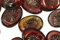 Czech Glass Pomegranate Oval w/ Star Window 14x10mm