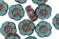 Czech Glass Bronzed Turquoise Hibiscus Coin 10mm