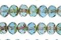 Czech Glass Aquamarine Picasso Fire Polished Rondelle 5x7mm
