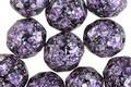 Czech Fire Polished Glass Jet w/Metallic Purple & Silver Flecks Round 10mm
