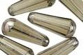 Czech Glass Black Diamond w/ Silver Faceted Teardrop 20x8mm