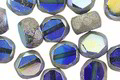 Czech Glass Mykonos AB w/ Antique Silver Faceted Table Cut Oval 8x7mm