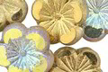 Czech Glass Matte Etched Smoke AB w/ Gold Luster Hibiscus Coin 21mm