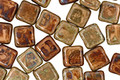Czech Glass Beige Picasso Square 6mm