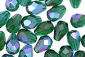 Czech Glass Green Emerald AB Faceted Drop 8x6mm