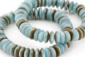 Czech Glass Turquoise Silk w/ Iris Brown Luster Spacer 2x6mm