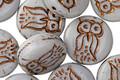 Czech Glass Bronzed Opaque Grey Owl Coin 14mm