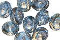 Czech Glass Aquamarine w/ Gold Marbling Finish UFO 7x9mm