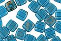 CzechMates Glass Capri Blue with Gold Marble 2-Hole Tile 6mm