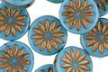 Czech Glass Sky Blue w/ Bronzed Daisy Coin 12mm