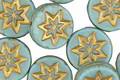 Czech Glass Turquoise w/ Gold Starflower Coin 12mm
