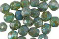 Czech Glass Jungle Green Picasso Fire Polished Round 6mm