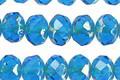 Czech Glass Capri Blue Picasso Fire Polished Rondelle 6x9mm