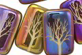 Czech Glass Laser Etched Tree on Ivory Opaque w/ Rainbow Finish Rectangle 19x12mm