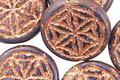 Czech Glass Amethyst w/ Copper Flower of Life Geometry Coin 19mm