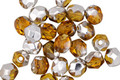 Czech Fire Polished Glass Amber w/ Silver Luster Round 5mm