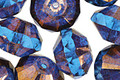 Czech Glass Capri Blue w/ Bronze Luster Saucer 9x14mm