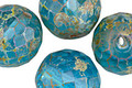 Czech Fire Polished Glass Caribbean Blue Picasso Round 19mm