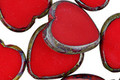 Czech Glass Cherry Picasso Heart 15mm