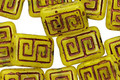 Czech Glass Bronzed Pineapple Tribal Rectangle 12x9mm