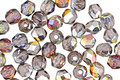 Czech Fire Polished Glass Crystal & Silver Vitrail Round 4mm