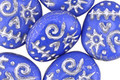 Czech Glass Cornflower w/ Silver Wash Sugar Skull 16x13mm