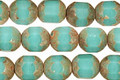 Czech Glass Turquoise Picasso Faceted Barrel 8x7mm