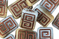 Czech Glass Bronzed Deserted Island Tribal Rectangle 12x9mm