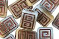 Czech Glass Bronzed Deserted Island Tribal Rectangle 12x9mm