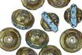 Czech Glass Aquamarine w/ Metallic Picasso UFO 7x9mm