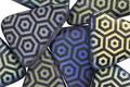 Czech Glass Laser Etched Honeycomb on Jet w/ Rainbow Finish Triangle 14x18mm