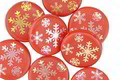 Czech Glass Laser Etched Snowflakes on Coral w/ AB Finish Coin 14mm