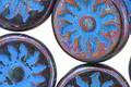 Czech Glass Bronzed Midnight w/ Turquoise Sun Coin 22mm