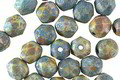 Czech Glass Matte Bisque w/ Turquoise Patina Fire Polished Round 6mm