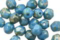 Czech Glass Blue Turquoise Picasso Fire Polished Round 6mm