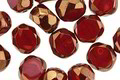 Czech Glass Ruby w/ Bronze Faceted Table Cut Oval 8x7mm