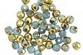 Czech Glass Blue Opal w/ Gold Fire Polished Round 3mm