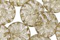 Czech Glass Champagne w/ Mercury Glass Finish Dahlia Coin 14mm