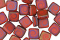 Czech Glass Laser Etched Ammonite on Matte Ruby Red w/ Rainbow Finish 2-Hole Tile 6mm